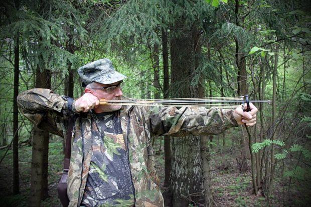 Охота на фазана с рогаткой