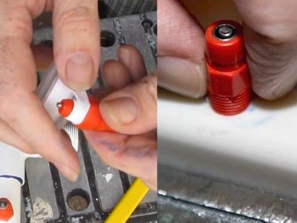Вставка ниппеля в отверстия трубы