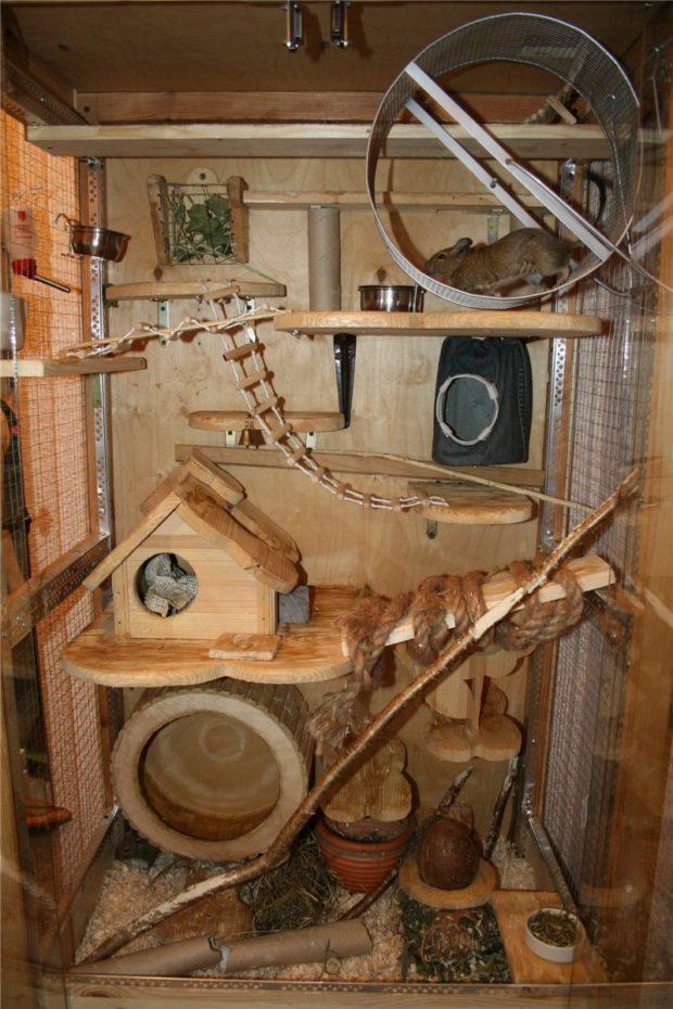 Оборудованная клетка из дерева