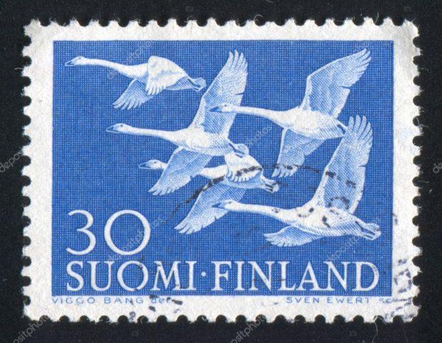 Лебедь на марке Финляндии
