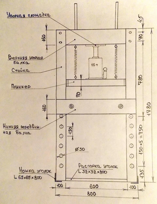Гидравлический пресс своими руками чертежи фото инструкции