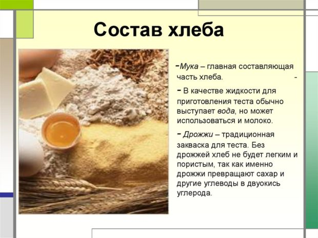 Состав ржаного хлеба